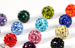 100pcs lot 10mm white mixed Micro Pave CZ Disco clay hotsale Ball Crystal Bead Bracelet Necklace Beads DIY spacer.