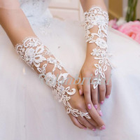 Wholesale 2014 New Arrival Bridal Gloves About Luxury Lace Flower Glove Hollow Wedding Dress Accessories Ivory Bridal Gloves