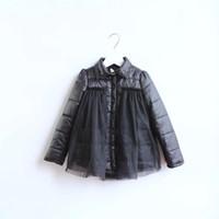 Wholesale Brand New Winter Boutique girls thicken Splicing yarn cotton padded coat Children Kids fashion winter coat