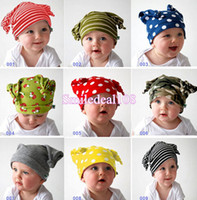 Wholesale Adorable Newborn Infant Toddler Baby Cotton Hat Caps Stripe Dot Beanies Photo Props
