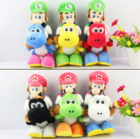 Wholesale OP Super Mario Bros Plush quot cm colors Mario Riding Yoshi Plush Doll Luigi Riding Yoshi Plush Toy