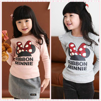 Wholesale Girls Tees Cartoon Mouse Sweatshirt Minnie Blouse Cotton Top Quality LT34