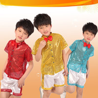 Wholesale Free Shipment new boy jazz show performances clothing sequined stage clothes modern choir sets red tie A0300