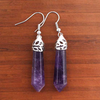 Wholesale Natural Amethyst Point Stone Quartz Pendant Earring Fashion Jewelry pairs per