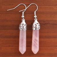 Wholesale Natural Powder Crystal Point Stone Quartz Pendant Earring Fashion Jewelry pairs per