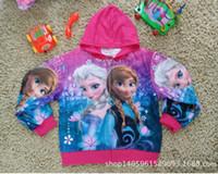 Wholesale 2 color FROZEN Girl Anna Elsa Princess Hoodies jacket zipper coat Girl Anna Elsa Princess Hoodies Frozen A250