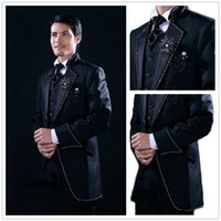 autumn wedding decoration - Custom Made Black With Crystal Decoration Groom Tuxedos Best Man Suit Wedding Groomsman Men Suits Bridegroom Jacket Pants Tie Vest