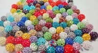 loose shamballa beads - 500pcs mm mixed Micro Pave CZ Disco clay Ball loose Crystal Shamballa Bead Bracelet Necklace Beads white mix Rhinestone