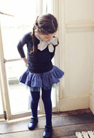Wholesale Autumn Girls Sweet Bow Cotton T shirts For Yrs Children Lovely Bowknot Tops Kids Preppy Style Long Sleeve Tee Beige Navy Blue I1746