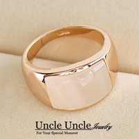 Wholesale Unisex K Gold Plated High Quality Rectangle Opals Retro Trendsetter Finger Ring Gold Silver