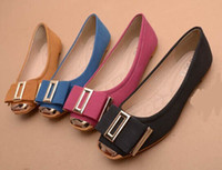 Wholesale 2014 new atmospheric metal head double bow square flat shoes flat documentary shoes big yards for women s shoes