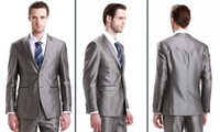 best side business - 2014 Custom Made Fashion Two Button Grey Groom Tuxedo Business Suit Best Man Suit Wedding Groomsman Suits Bridegroom Jacket Pants Tie Vest