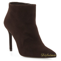 Cheap New Ankle Boots Pointed Toe Brown Woman Short Boot Euramerican Style Deerskin Leather Women's Martins Boots Side Zipper Stiletto Heel 12cm
