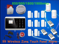 Cheap Android APP Touch Screen Keypad panel+LCD display Wireless GSM PSTN Home Security Burglar Voice Smoke Sensor Fire Alarm System