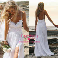 2014 White Ivory Beach Lace Chiffon Wedding Dresses Summer S...