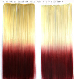 Wholesale Europe and the United States wig blasting with dyed hair piece gradient five CARDS Long straight hair