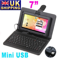 Wholesale UK Stock To UK Leather Case Mini USB Keyboard Bracket Cover for quot Tablet PC Ainol NOVO Via inch Tablet MID