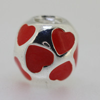Wholesale Sterling Silver Red Heart Shaped Crystal Beads European Style Charming Bracelet Snake Chain Jewelry