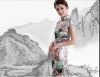 Wholesale Factory Supply Female Tang Suit Vintage Chinese Style Faux Silk Sexy Round Lapel Fashion Cheongsam Women Dress