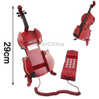 Wholesale Fashionable Unique Red Violin Style Phone Home use Wired Telephone with Holder