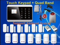 app touch screen - Touch Screen Keypad Panel LCD TFT Display with wireless siren GSM PSTN SMS Home Security Burglar Voice Alarm System android APP