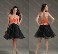 Cheap Short Corset Prom Dresses Sweetheart Orange Taffeta with Black Tuppe Elegant Beading 2015 Cocktail Homecoming Cheap Custom Made Graduation