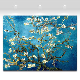 Wholesale Flower Blossoming Almond Tree By Van Gogh Oil Painting Printed On Canvas Home Art Decor Blue freeshipping