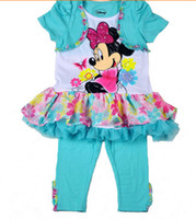 Cheap New kids Clothes Sets 2014 Baby Girl Lovely Minnie Mouse Flower Lace Glitter Shirt Dress + Pant Tights 2pcs Set Girls Summer Suit Blue A376