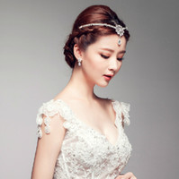 Wholesale 2015 New Fashion Charm Wedding Bridal Crystal Rhinestone Headband Flowers Hair Accessories Ornament Indian Princess Korean Tiara Jewelry Set
