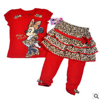 Cheap New Fashion Leopard 3piece Sets Girls Set Outfits Cartoon Sets Lovely Minnie Mouse Clothes Suit High Quality Shirt Tees + Skirt + Pants A377