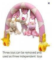 Wholesale OP Biba toys baby stroller clip lathe hang Pink blue bear kitten cat dog children kinds infants toy Retails