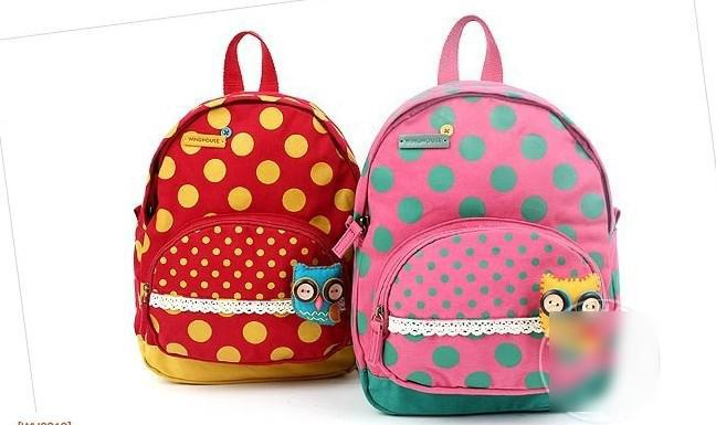 New Arrival Children Girls Boys Owl Dots Backpacks Kids High ...