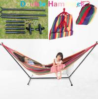 Wholesale HD Hammock Stand Muslin Fabric Hammock Travel camping RV outdoor swing yard
