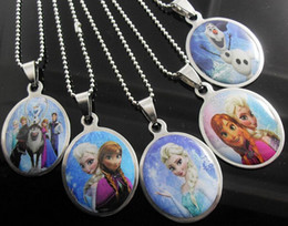 Wholesale 2015 Child Stainless Steel Pendant Necklace Jewelry Anna Elsa Princess Cartoon Pendant Sterling Silver mm Chain Necklace Jewelry