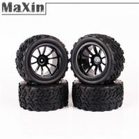 Cheap 4pcs set Rubber Sponge Tires Tyre Wheel Rim For HSP 1:10 Monster Bigfoot Truck Tyre 26206 RC Remote Control Toys Parts Accs