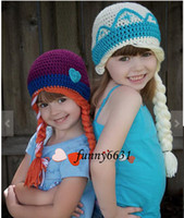 Wholesale MOQ Crochet hats FROZEN ELSA ANNA DROP SHIPPING high quality Anna elsa style Crochet hats Comfortable Soft In the latest fashion colors
