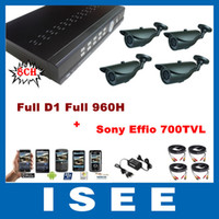 Cheap HD H.264 8CH Full D1 Full 960H Real Time Network CCTV DVR with 4PCS Sony Effio 700TVL IR Weatherproof Security Cameras System