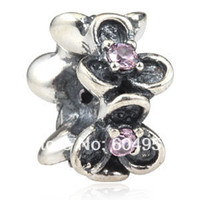 Cheap 1PCS lot Stamped 925 Sterling Silver Clover Flower Wanda Garden Spacer Beads With Pink Stones