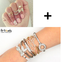Cheap Artilady sales promotion stacking bracelet with midi ring set women jewelry BL