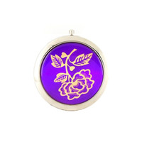 Wholesale Blue Cute Round Mini Folding Double Side Round Pocket Beauty Compact Mirror mm