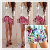 Wholesale 2014 New Arrival Fashion Women Elastic Waist casual shorts chiffon Summer Shorts Sweet Floral Print Tassel Hem Beach Shorts