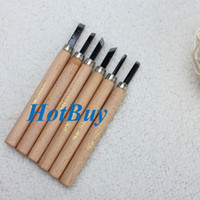 Cheap 6Pcs Clay Wax Wooden Lathe Chisel Wood Handle Carving Hand Tool Set #3292