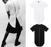 Wholesale Mens Back Zipper Extended Lengthen Short Sleeve Dress T Shirt Drop T Shirt Men Extended Hem Boy s Dress T Shirt Tops