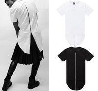 Homens vestido de camisa de t Avaliações-Mens zíper para trás estendida alongar manga curta camiseta T-shirt 2014 cair T-shirt homens extendido hem Men's Dress T Tops