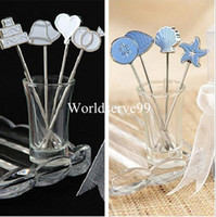 Wholesale Stainless Steel Fruit Fork Pick Seaside Food Snack Dessert Cake Picks Wedding Decor Party Favors Party Gift Box