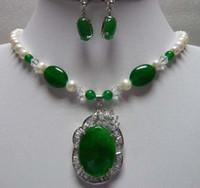 green white jade - nice white pearl green jade necklace pendant earrings set