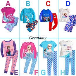 Wholesale 8 styles children frozen pajamas sets short long sleeve cotton tops long trouser pant suit frozen character printed girls nightgown