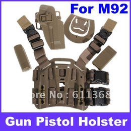 Wholesale OP Best sell Durable Plastic Tactical Puttee Thigh Pistol Holster Leg Gun Pouch Quick Release Buckle for M92 Type Pistol Brown