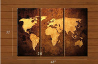 3 panel Oil Painting Abstract 100% handmade pictures on the wall decoration home modern High Q. world map oil painting on canvas 3 panel wall art mixorde framed art D362