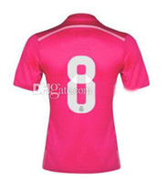 Wholesale 2014 New Cheap Soccer Jersey Pink Home Season Short Sleeves Kroos Jerseys Soccer Shirts Soccer Tops Thai Quality Customized